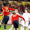 Fernando Llorente (16) just after heading the ball and scoring the second Spanish goal. Taken during the friendly football game between the national teams of Spain and England that took place in the Sanchez Pizjuan stadium, Seville, Spain, 11 Feb 2009.