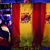 Stand selling Spanish flags, scarves and similiar stuff. Taken before the friendly football game between the national teams of Spain and England that took place in the Sanchez Pizjuan stadium, Seville, Spain, 11 Feb 2009.