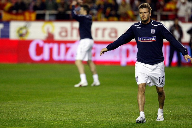 David Beckham warming up. Taken before the friendly football game between the national teams of Spain and England that took place in the Sanchez Pizjuan stadium, Seville, Spain, 11 Feb 2009.