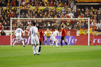 The Spanish goalkeeper Pepe Reina looking at the ball. Taken during the friendly football game between the national teams of Spain and England that took place in the Sanchez Pizjuan stadium, Seville, Spain, 11 Feb 2009.