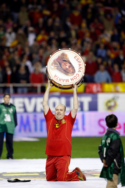 """Manolo el del bombo"" (Manolo the drummer), famous Spanish fan. Taken during the friendly football game between the national teams of Spain and England that took place in the Sanchez Pizjuan stadium, Seville, Spain, 11 Feb 2009."