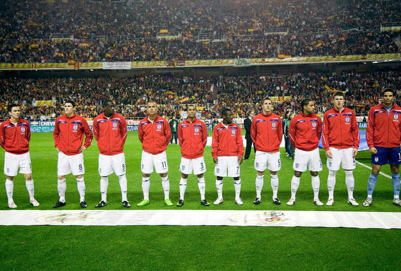 The English team forming. Taken before the friendly football game between the national teams of Spain and England that took place in the Sanchez Pizjuan stadium, Seville, Spain, 11 Feb 2009.