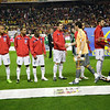Protocolary hand-shaking between English and Spanish players. Taken before the friendly football game between the national teams of Spain and England that took place in the Sanchez Pizjuan stadium, Seville, Spain, 11 Feb 2009.