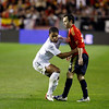 Iniesta (Spain) fighting with Johnson (England). Taken during the friendly football game between the national teams of Spain and England that took place in the Sanchez Pizjuan stadium, Seville, Spain, 11 Feb 2009.