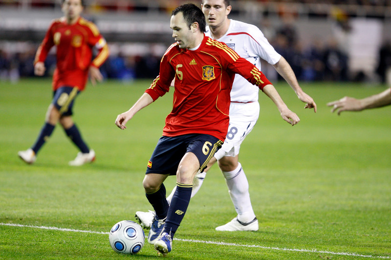 Iniesta with the ball. Taken during the friendly football game between the national teams of Spain and England that took place in the Sanchez Pizjuan stadium, Seville, Spain, 11 Feb 2009.