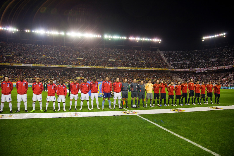 The English and the Spanish teams forming for listening to the national anthems. Taken before the friendly football game between the national teams of Spain and England that took place in the Sanchez Pizjuan stadium, Seville, Spain, 11 Feb 2009.