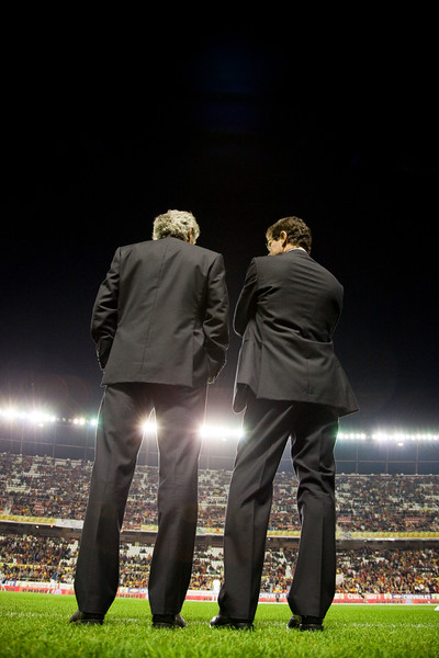 England's manager, Fabio Capello (right), and his assistent Franco Baldini (left) looking at the stadium. Taken before the friendly football game between the national teams of Spain and England that took place in the Sanchez Pizjuan stadium, Seville, Spain, 11 Feb 2009.