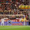 The English goalkeeper, David James, looking at the ball in a free kick. Taken during the friendly football game between the national teams of Spain and England that took place in the Sanchez Pizjuan stadium, Seville, Spain, 11 Feb 2009.