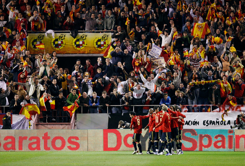 The Spanish players celebrating a goal. Taken during the friendly football game between the national teams of Spain and England that took place in the Sanchez Pizjuan stadium, Seville, Spain, 11 Feb 2009.