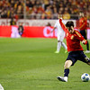Silva shooting. Taken during the friendly football game between the national teams of Spain and England that took place in the Sanchez Pizjuan stadium, Seville, Spain, 11 Feb 2009.