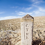 Marker on the countryside of the Spanish Telefonica corporation network, Spain