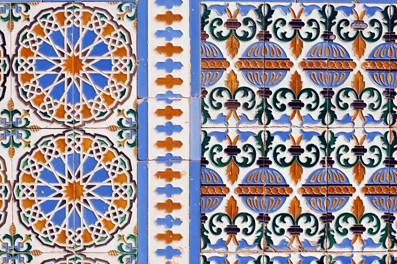 Glazed ceramic tiles, former Monastery of La Cartuja, now Museum of Modern Art, Seville, Spain