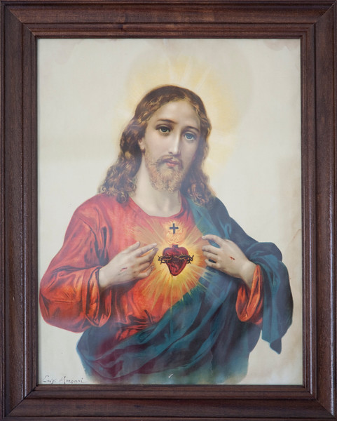 Frame with a draw of the Sacred Heart of Jesus, town of Casta–o del Robledo, province of Huelva, Andalusia, Spain