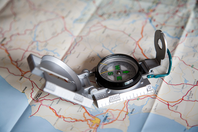 Compass and map, Lisbon, Portugal