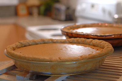 Cozy, homey image of two pumpkin pies cooling in a kitchen. Backlighting and shallow depth of field used. Image is in warm tones to enhance the ambience.
