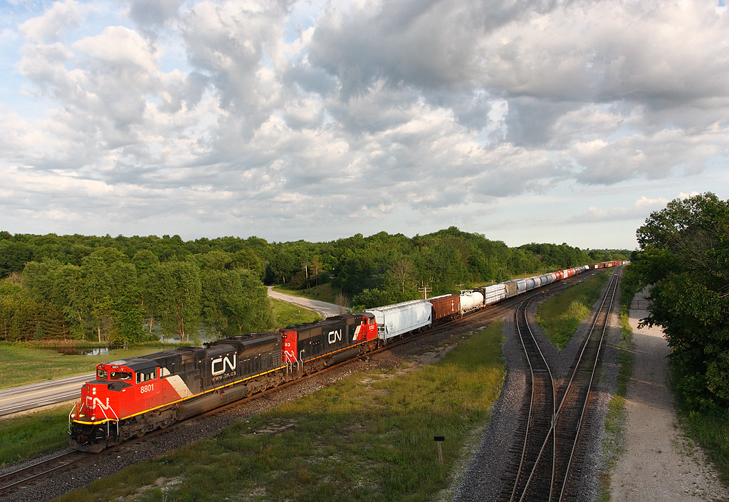 Candian National 8801 (EMDI SD70-M2) - Ackerville, WI