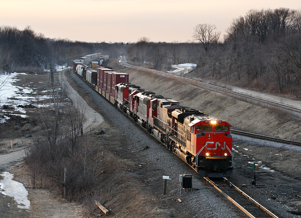 Canadian National 8005 (EMDI SD70M-2) - Ackerville, WI