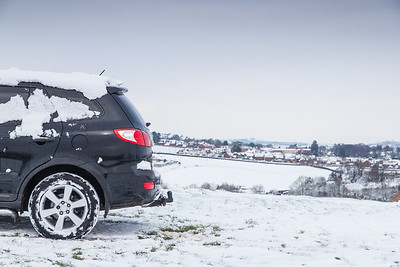 Rear car SUV 4x4 snow countryside UK