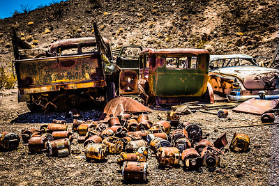 Rusty Automobiles in the Desert