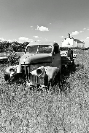 Old  Farm Truck by the Church