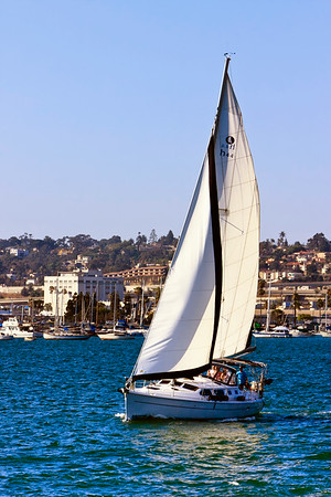 Sailing boat on the calm waters