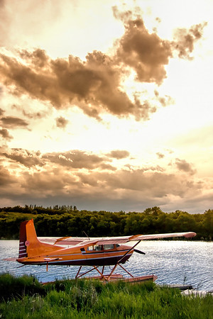 Storm approaching a Float Plane
