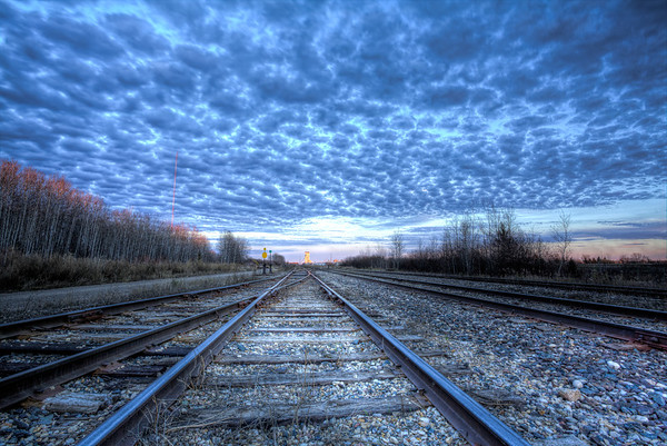 Railroad Tracks at Sunset