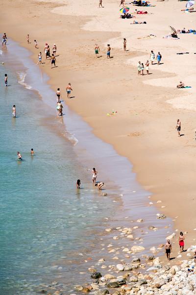 People on Mareta beach, town of Sagres, municipality of Vila do Bispo, district of Faro, region of Algarve, southwestern Portugal