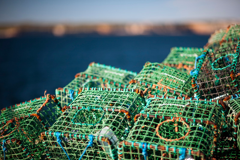 Lobster pots by the sea, town of Sagres, municipality of Vila do Bispo, district of Faro, region of Algarve, southwestern Portugal