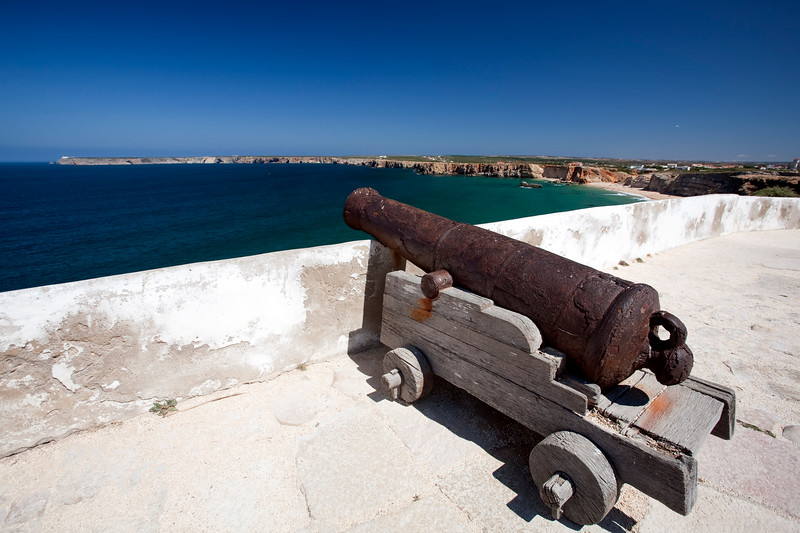 Old cannon, fortress of Sagres, town of Sagres, municipality of Vila do Bispo, district of Faro, region of Algarve, southwestern Portugal