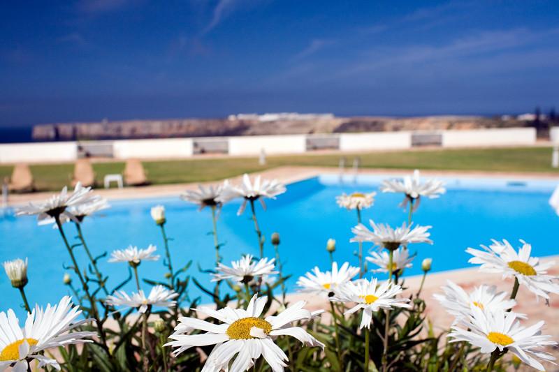 Swimming pool of Pousada Infante de Sagres Hotel, Town of Sagres, municipality of Vila do Bispo, district of Faro, region of Algarve, southwestern Portugal