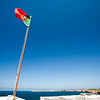 The Portuguese flag at the fortress of Sagres, municipality of Vila do Bispo, district of Faro, region of Algarve, southwestern Portugal