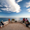 Tourists at Nossa Senhora da Rocha viewpoint, town of Porches, municipality of Lagoa, district of Faro, region of Algarve, Portugal