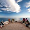 Tourists at Nossa Senhora da Rocha viewpoint, town of Porches, municipality of Lagoa, district of Faro, region of Algarve, Portugal