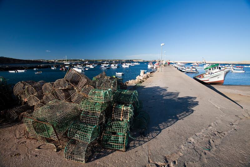 Lobster pots in the port, town of Sagres, municipality of Vila do Bispo, district of Faro, region of Algarve, southwestern Portugal