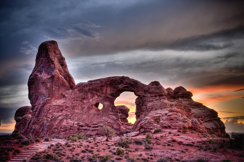 Turret Arch at sunset, viewed in Arches National Park, Utah