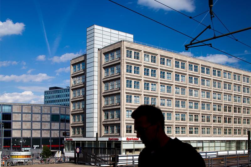 View of Alexanderplatz from the railway station, Berlin, Germany