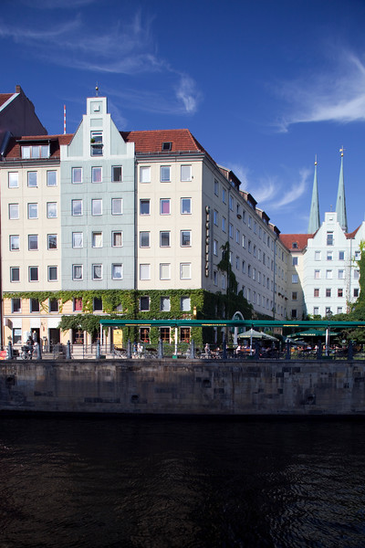 Nikolaiviertel houses from the Spree river, Berlin, Germany