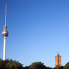TV Tower and City Hall tower as seen from Schossplatz park, Berlin, Germany