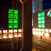 Night reflections on Alexanderplatz, Berlin, Germany
