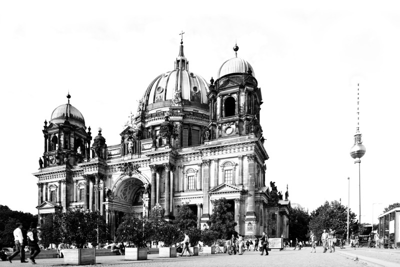Black and white sketch of the facade of the Berliner Dom (Cathedral), with the TV Tower on the background, Berlin, Germany