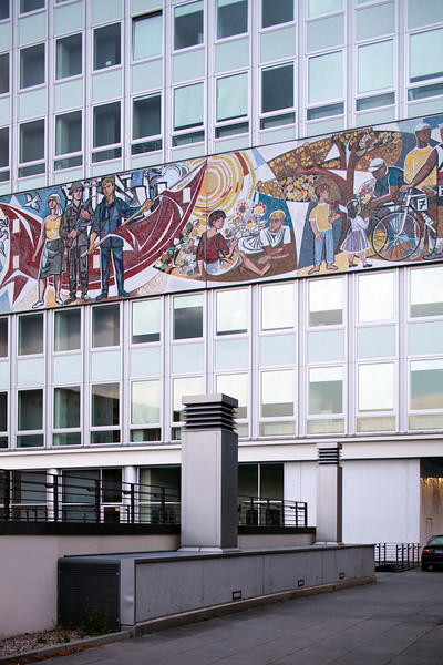 Haus des Lehrers (House of Teachers) building on Alexanderplatz, with a Socialist mural by Walter Womacka, Berlin, Germany
