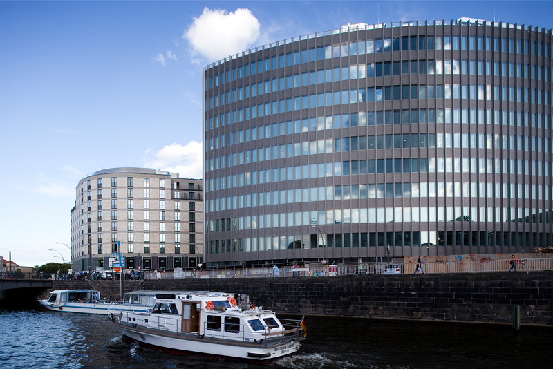 Modern buildings on the  south bank of the Spree river by Friedrichstrasse, Berlin, Germany
