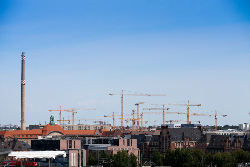 Construction cranes in Invalidenstrasse area as seen from the Reichstag terrace, Berlin, Germany