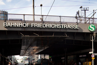 Friedrichstrasse station sign, Berlin, Germany