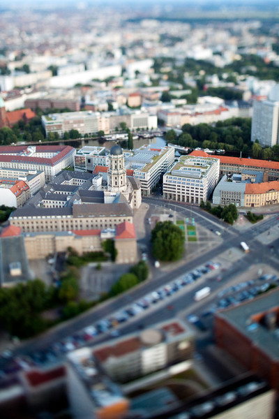 Aerial view from the TV Tower of Judenstrasse and the Altes Stadthaus (focus), Berlin, Germany. Tilted lens used for a shallower depth of field and to create, combined with the aerial view, a miniaturization effect.
