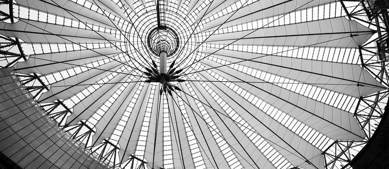 Canopy of Sony Center, Berlin, Germany. Big resolution panorama.
