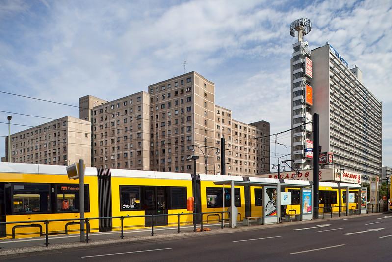 Tram and buildings, Karl-Liebknecht street, Berlin, Germany