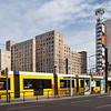 Tram and buildings, Karl-Liebknecht street, Berlin, Germany