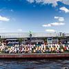 Open air bar on the Spree river bank by Gustav-Heinemann bridge, Berlin, Germany